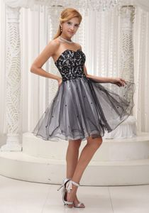 Lace Organza Sequined Prom Cocktail Gown in Black and White