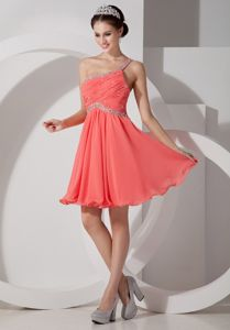 One Shoulder Ruche Orange Red Evening Cocktail Dress Beaded