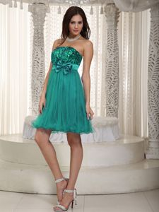 Turquoise Mini-length Sequined Cocktail Dress with Bowknot