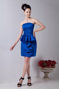 Satin Royal Blue Prom Cocktail Dresses Ruched with Ruffles