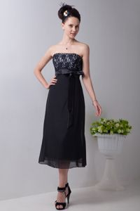 Tea-length Strapless Black Chiffon Cocktail Dress with Sash