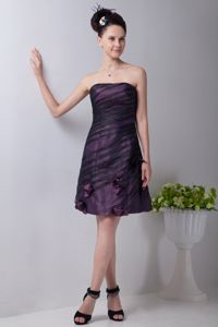 Taffeta Short Hand Made Flowers Cocktail Dresses in Purple