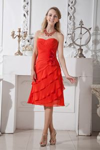 Sweetheart Chiffon Red Flowers Cocktail Dress with Ruffles