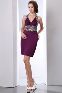 Dark Purple Halter Mini-length Beaded Column Cocktail Dress