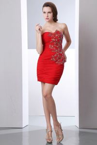 Sweetheart Red Short Chiffon Cocktail Dress with Beadings