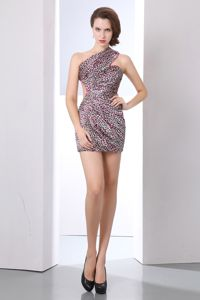 One Shoulder Column Leopard Mini-length Prom Cocktail Dress