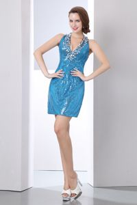 Sequined Short Baby Blue Cocktail Party Dresses with V-neck