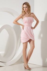 Short Pink Ruched Straps Mini-length Prom Cocktail Dresses