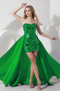 Mini-length High-low Green Cocktail Dress For Prom Sequined