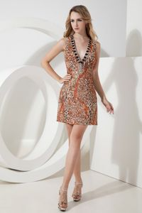 Leopard Short Mini-length Beaded Cocktail Dress with V-neck
