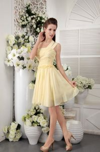 One Shoulder Chiffon Empire Cocktail Dress in Light Yellow