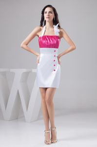Taffeta Hot Pink and White Halter Cocktails Dresses Ruched