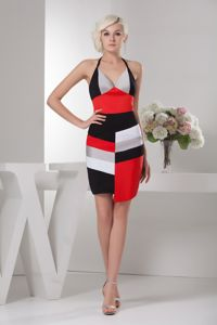 Mini-length Halter Homecoming Cocktail Dress in Multi-color