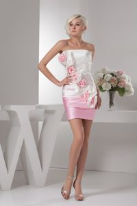 Hand Made Flowers White and Baby Pink Ruched Cocktail Dress