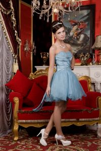 Mini-length Light Blue Sweetheart Cocktail Dress with Beads