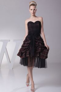 Sweetheart Black Prom Cocktail Dress With Pick-ups and Sash