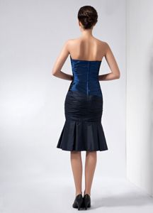 Navy Blue Strapless Beading and Appliques Cocktail Dress