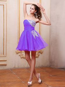 Mini-length Purple Prom Cocktail Dress With Appliques Ruches
