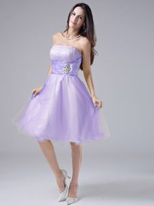Strapless Lavender Beaded and Ruched 2013 Prom Cocktail Dress