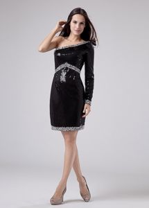 Beaded Sequined One Shoulder Column Cocktail Dress in Black