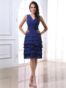 Ruffled Layers and Flower V-neck Royal Blue Cocktail Dress