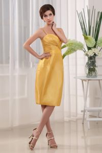 Spaghetti Straps Column Homecoming Cocktail Dress in Yellow
