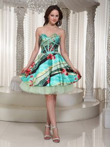 Multi-color Beading and Printing Sweetheart Cocktail Dress