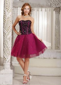Strapless A-line Beading and Tulle Cocktail Dress in Fuchsia