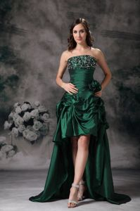 High-low Green Strapless Cocktail Dress Beading and Flower