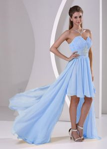 High-low Sweetheart Beaded Prom Cocktail Dress in Light Blue