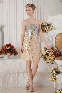 Sweetheart Champagne Prom Cocktail Dress Sequin and Beading