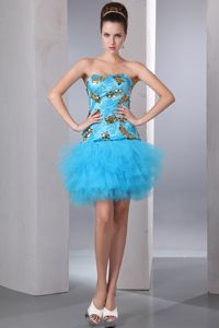 A-line Strapless Aqua Blue Cocktail Dress Sequin and Layer