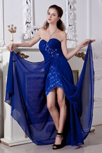 Royal Blue Sweetheart Cocktail Dress Beading and Embroidery