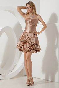Sweetheart A-line Brown Cocktail Dress Ruches Mini-length