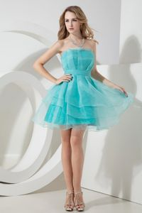 Mini-length A-line Strapless Ruche Light Blue Cocktail Dress