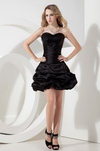 Pick-ups Sweetheart Sequins Mini-length Black Cocktail Dress