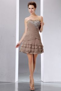 Beading and Sequins Strapless A-line Brown Cocktail Dress