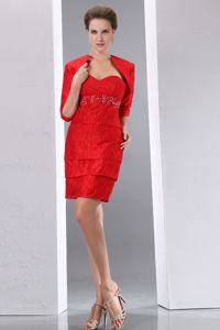 Pleat Sweetheart Mini-length Beading Cocktail Dress in Red