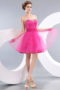 Sweetheart Hot Pink A-line Beaded Cocktail Dress Mini-length