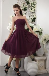 Ruches Sweetheart Chiffon Empire Dark Purple Cocktail Dress