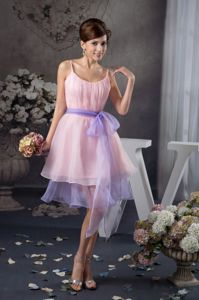 Baby Pink Cocktail Reception Dresses with Straps and Sashes