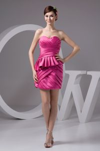 Ruche Hot Pink Sweetheart Mini Cocktail Dress For Celebrity