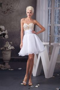 Mini-length Organza Ruche White Cocktail Dress with Beading