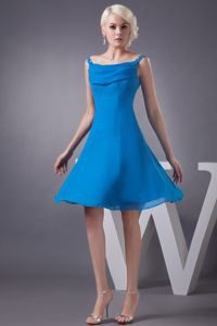Blue Off the Shoulder Mini-length Chiffon Cocktail Dresses