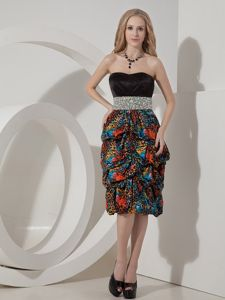 Colorful Printing Short Evening Cocktail Dress Beaded 2014