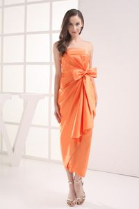 Satin Column Ruched Orange Bow Homecoming Cocktail Dresses